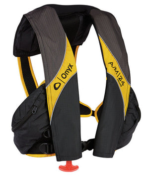 A/M-24 Deluxe Inflatable Life Jacket-Carbon/Yellow