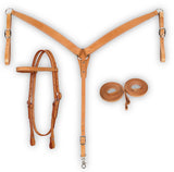 Leather Headstall, Breast Collar & Reins Combo