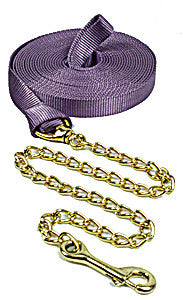 "1"" x 26' Nylon Lunge Line with 30"" Brass Chain"