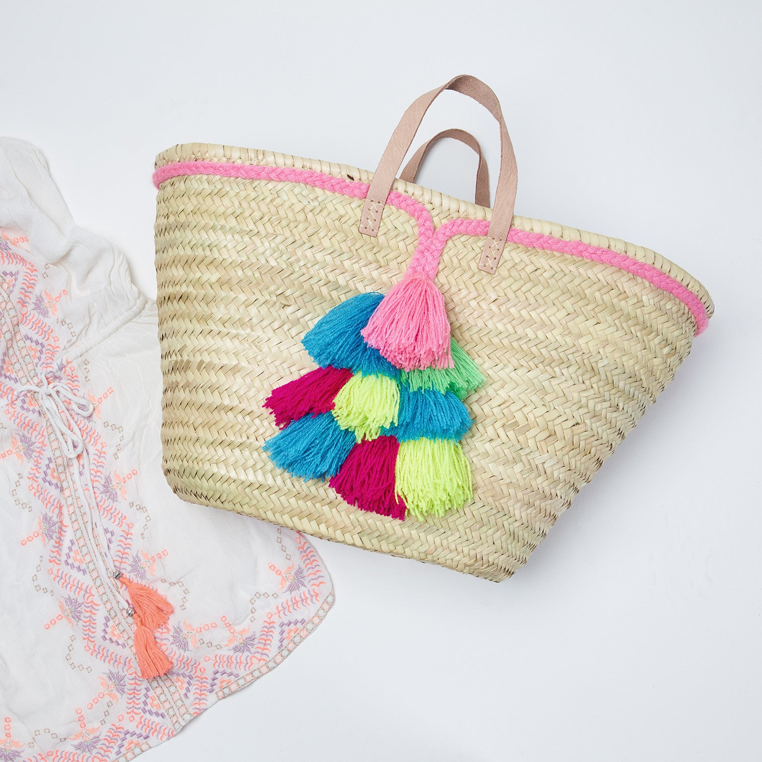 Coachella Basket Bag, Front View | Betsy and Floss