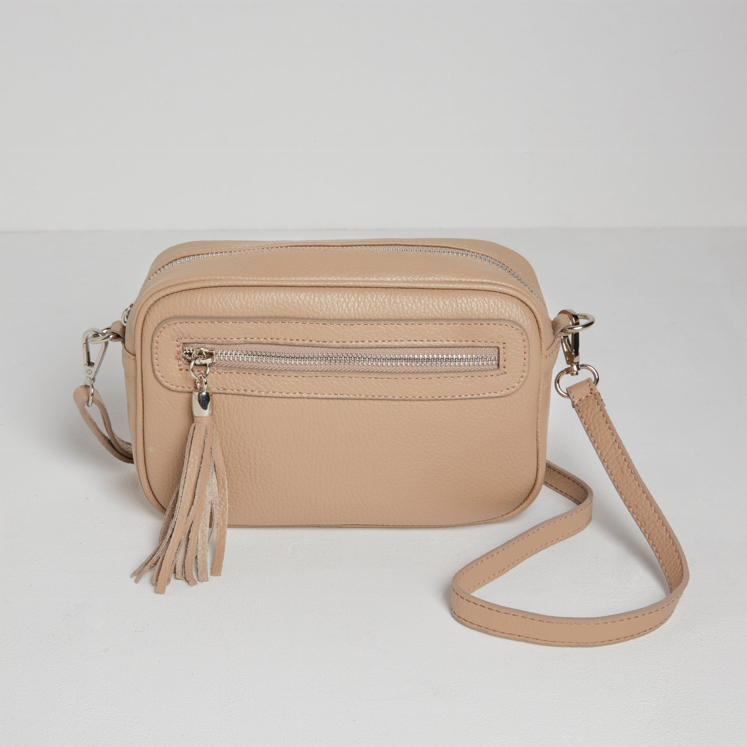 Florence - Crossbody Bag in Beige with Black White Strap