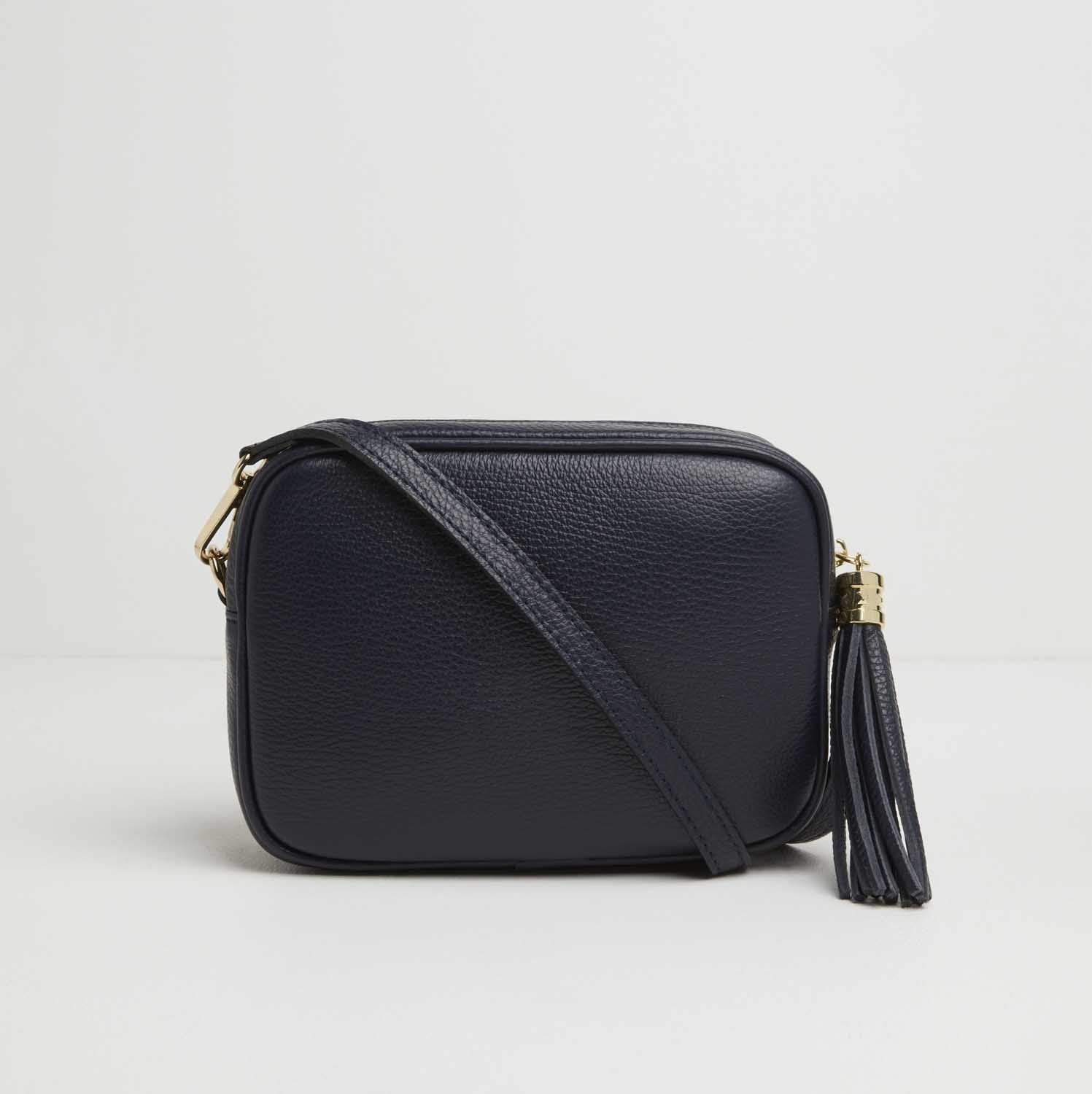 Verona Crossbody Tassel Navy Bag with Pastel Strap