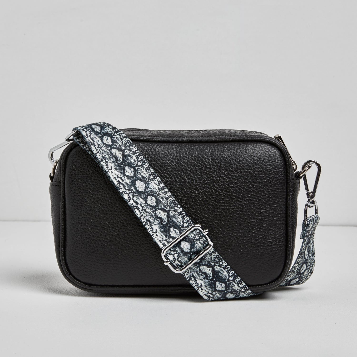 Florence - Crossbody Bag in Black with Snake Strap