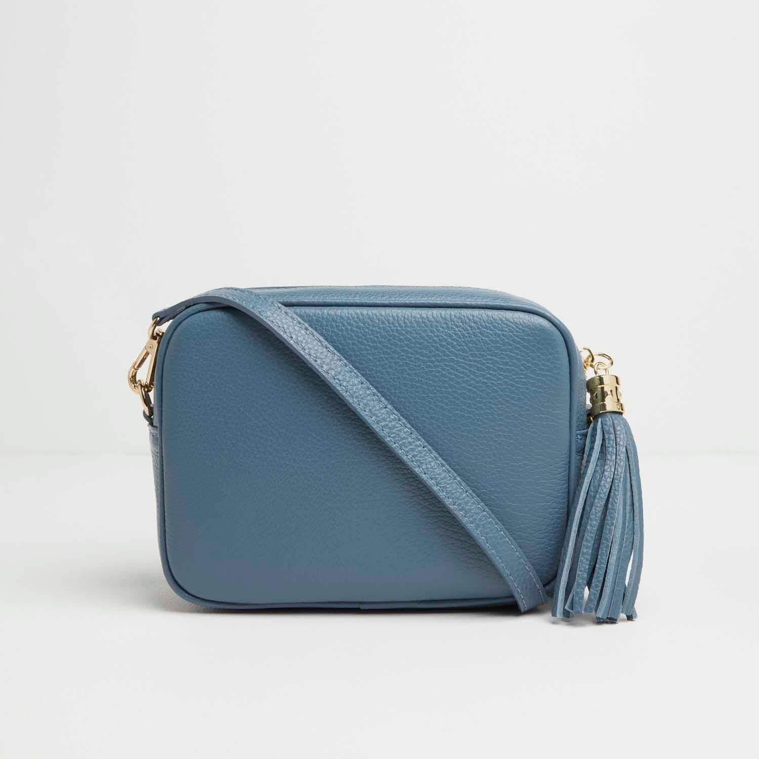 Verona Crossbody Tassel Denim Bag with Pastel Strap