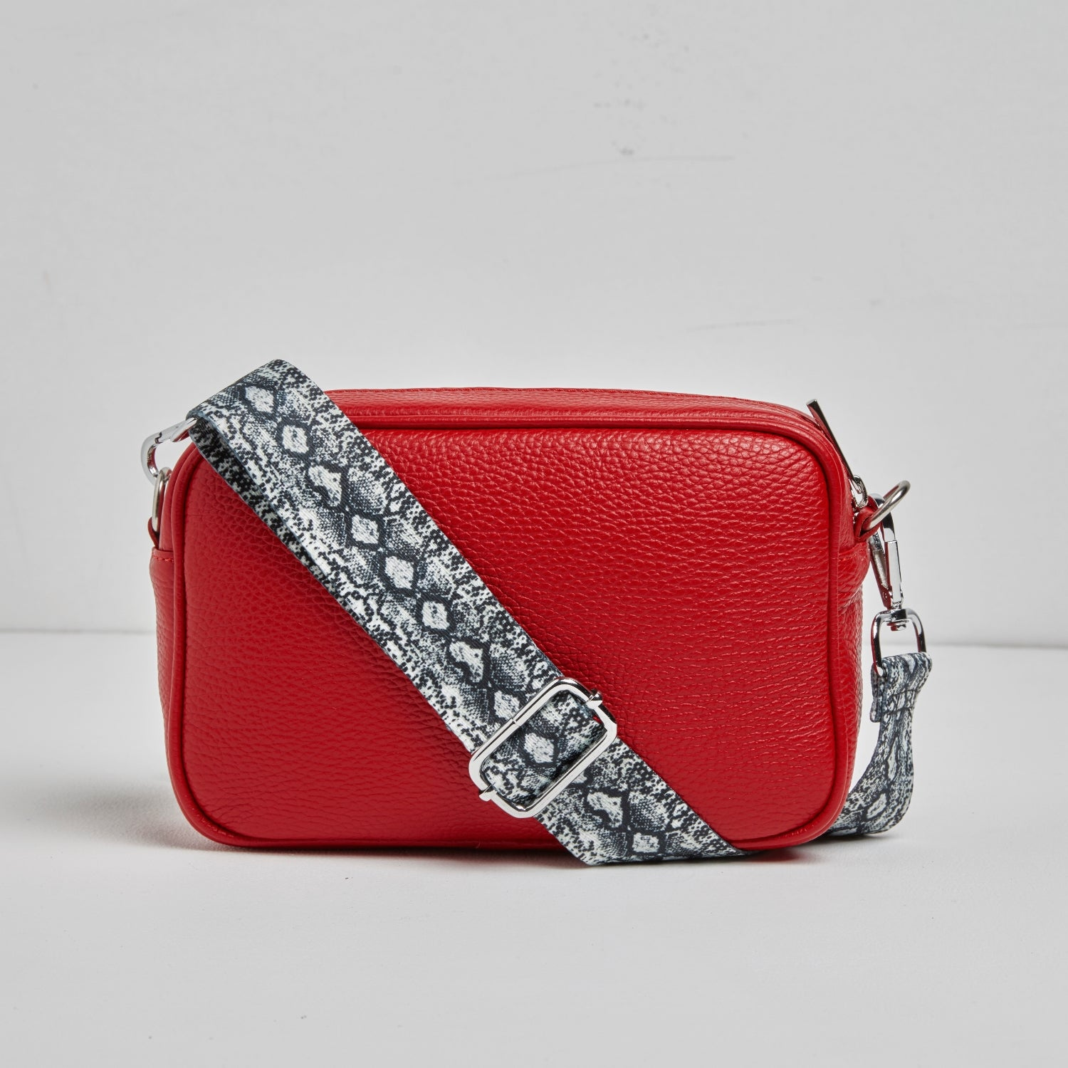 Florence - Crossbody Bag in Red with Snake Strap