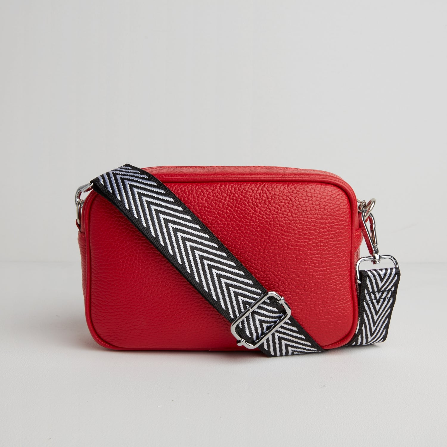 Florence - Crossbody Bag in Red with Black White Strap