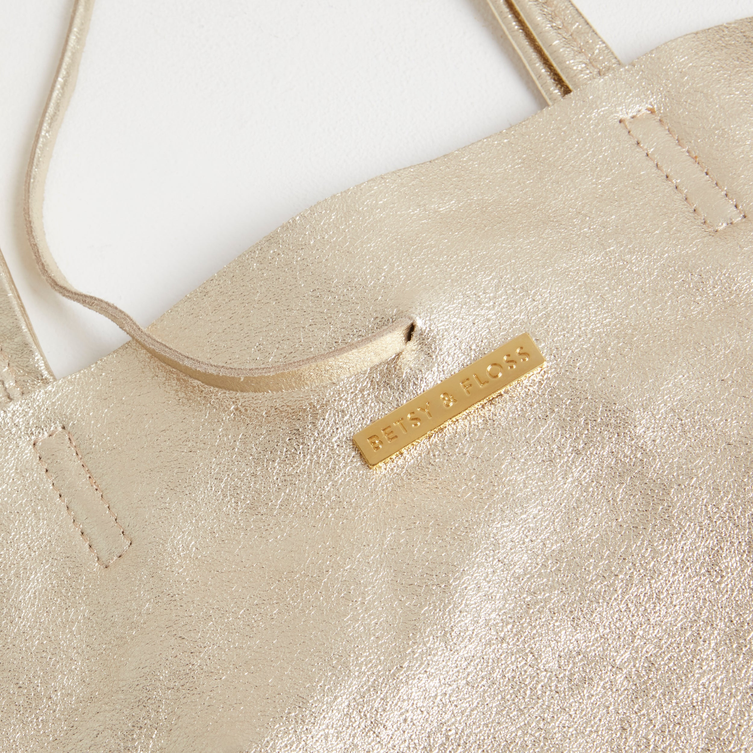 Soft Leather Tote Bag in Gold