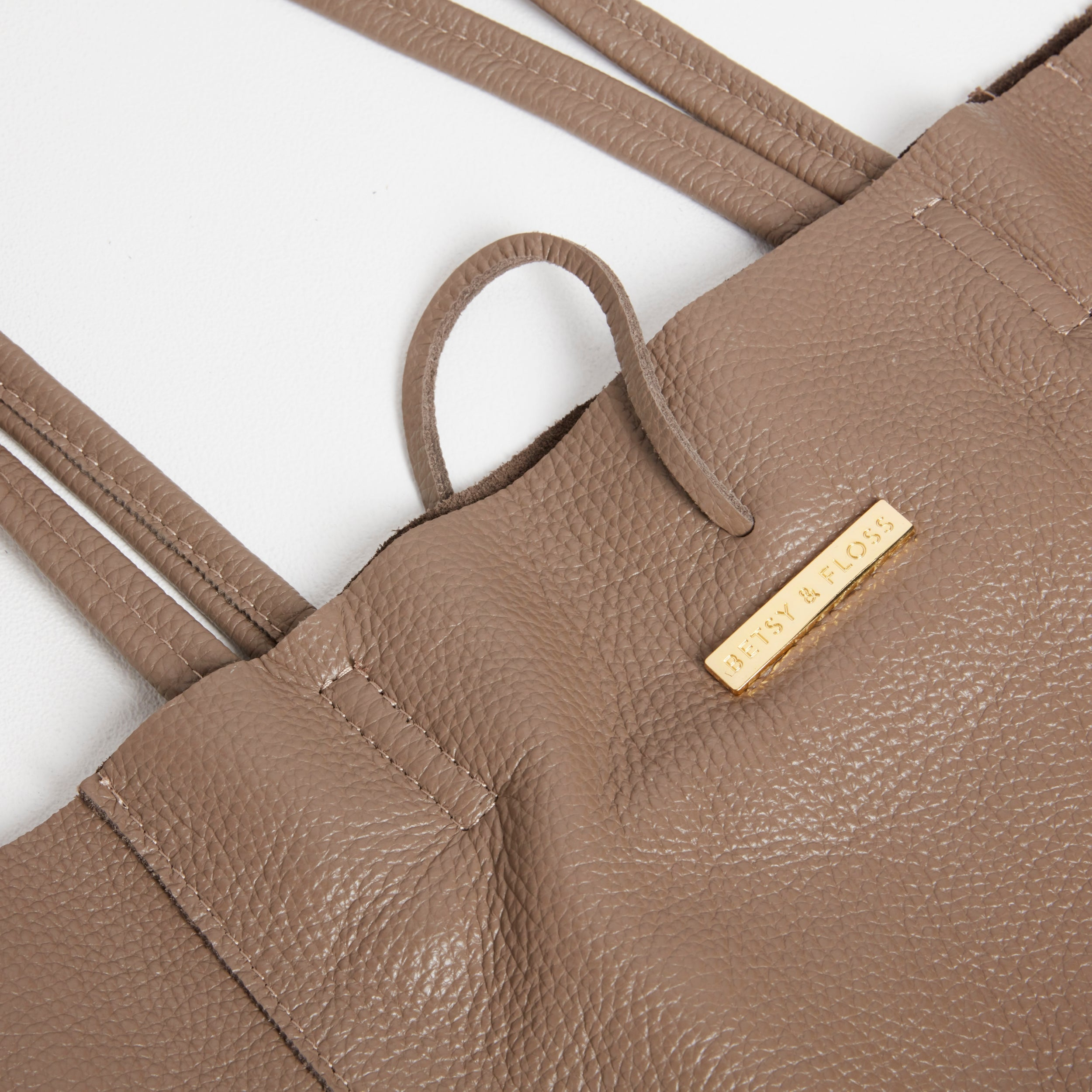 Soft Leather Tote Bag in Dark Taupe