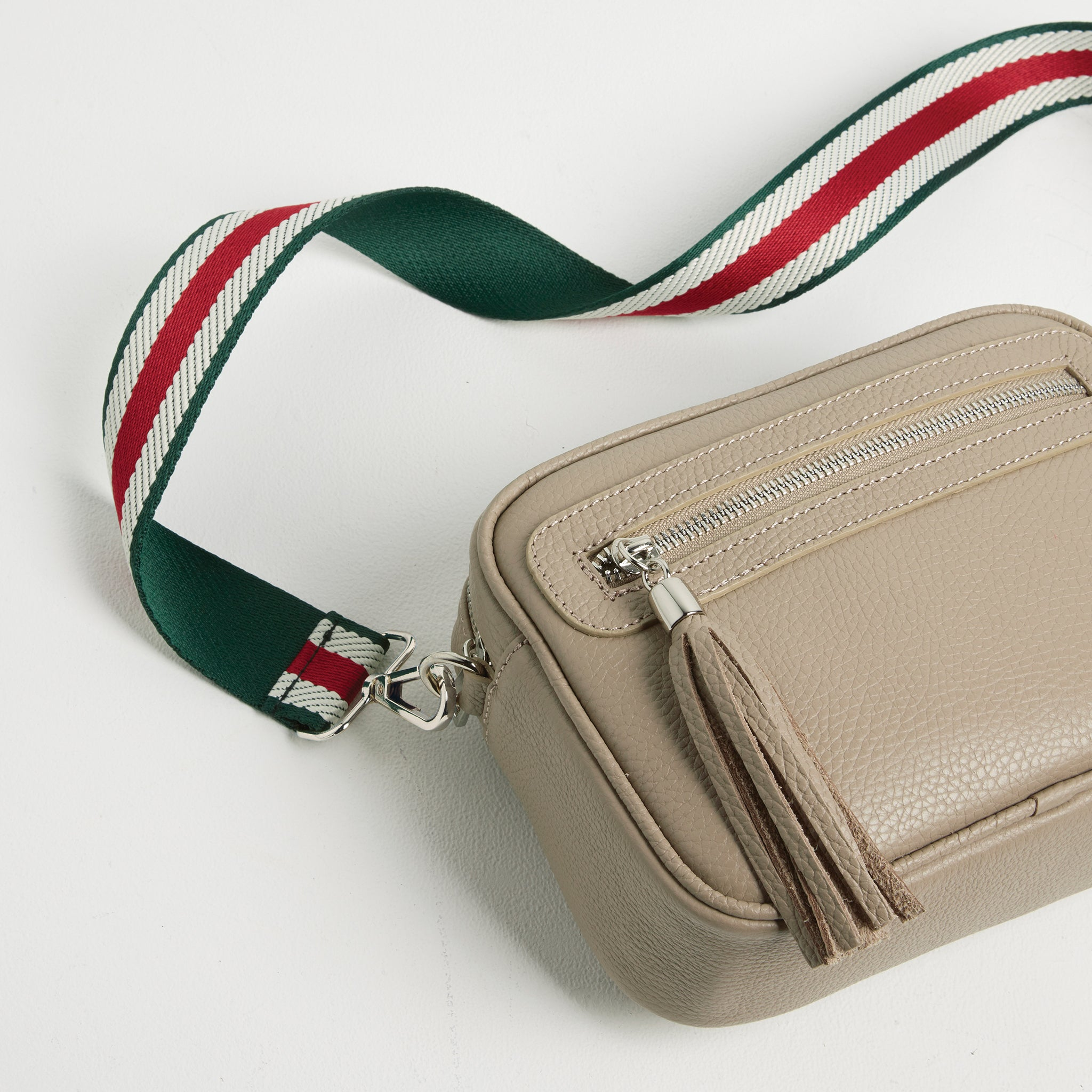 Crossbody Strap - Green Stripe (Silver Hardware)