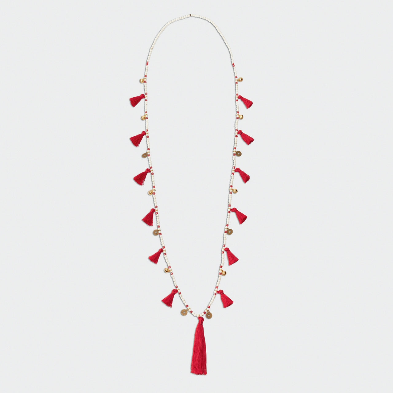 Coral Red Tassel Necklace