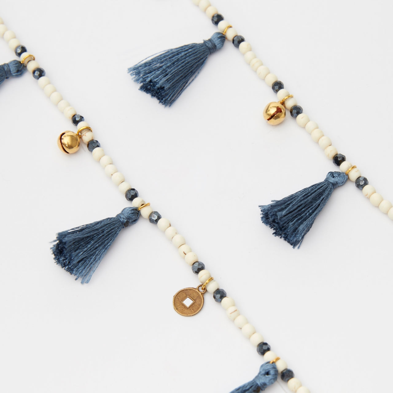 Blue Grey Tassel Necklace