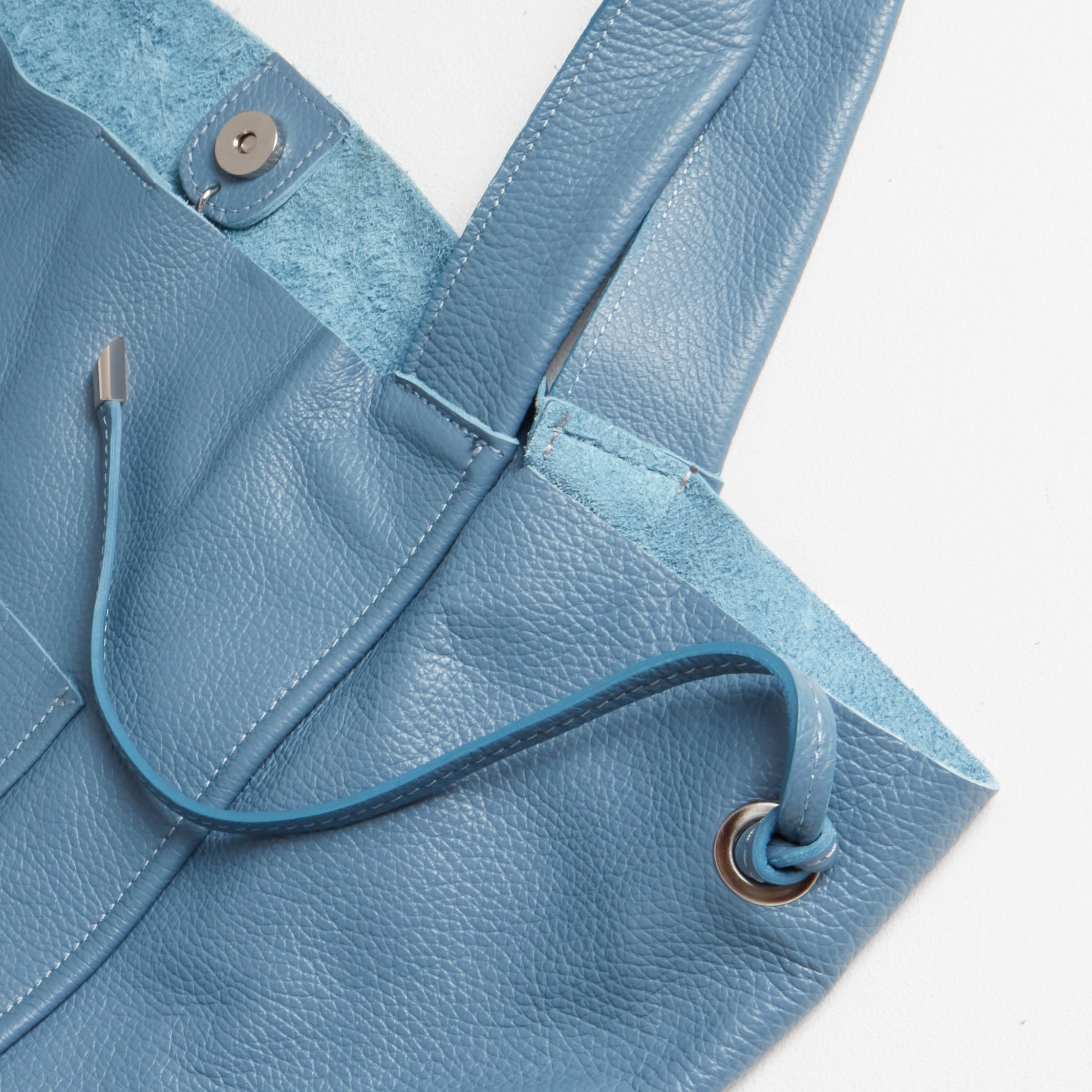 Soft Leather Shopper Bag in Light Blue