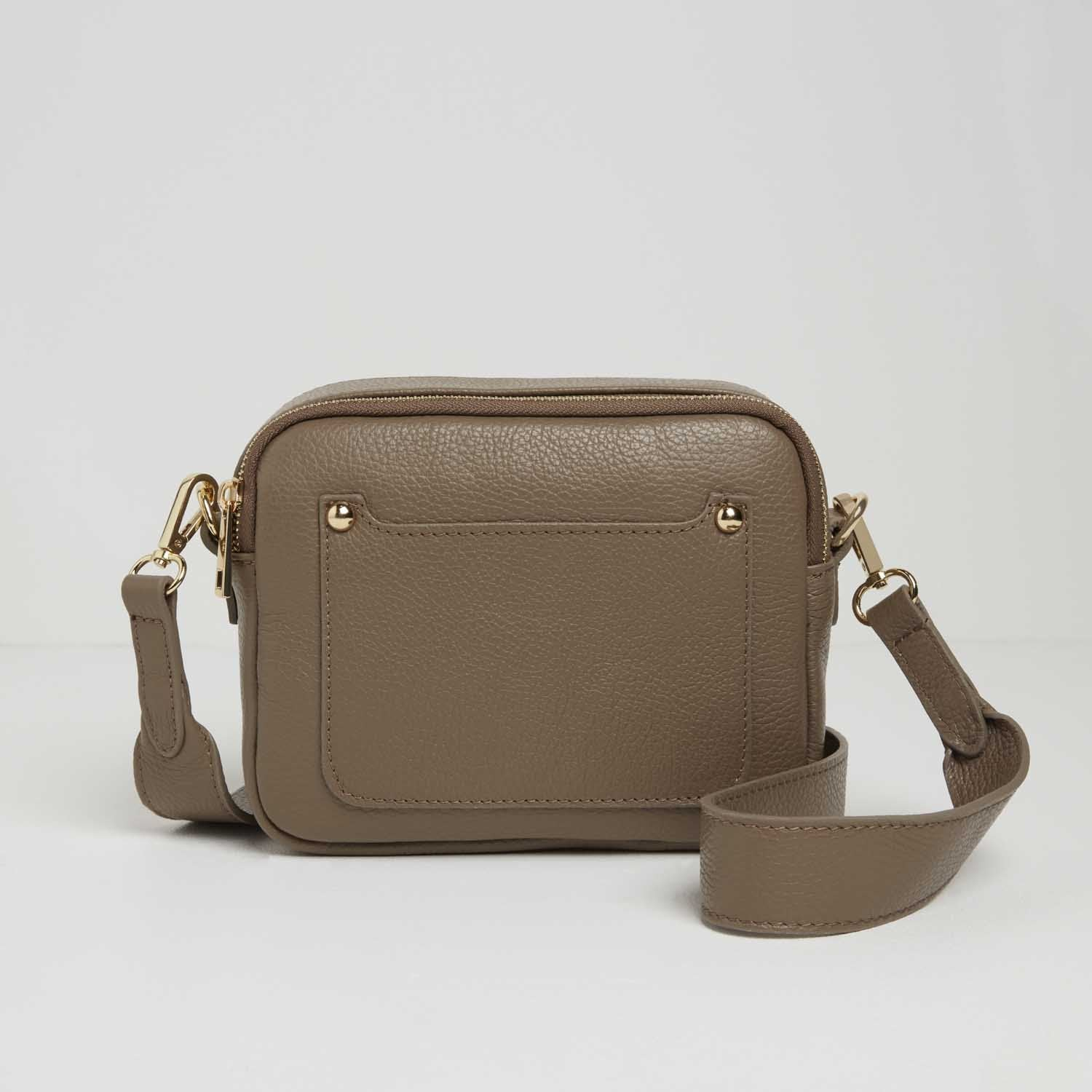 Sienna Crossbody Bag in Dark Taupe with Pastel Strap