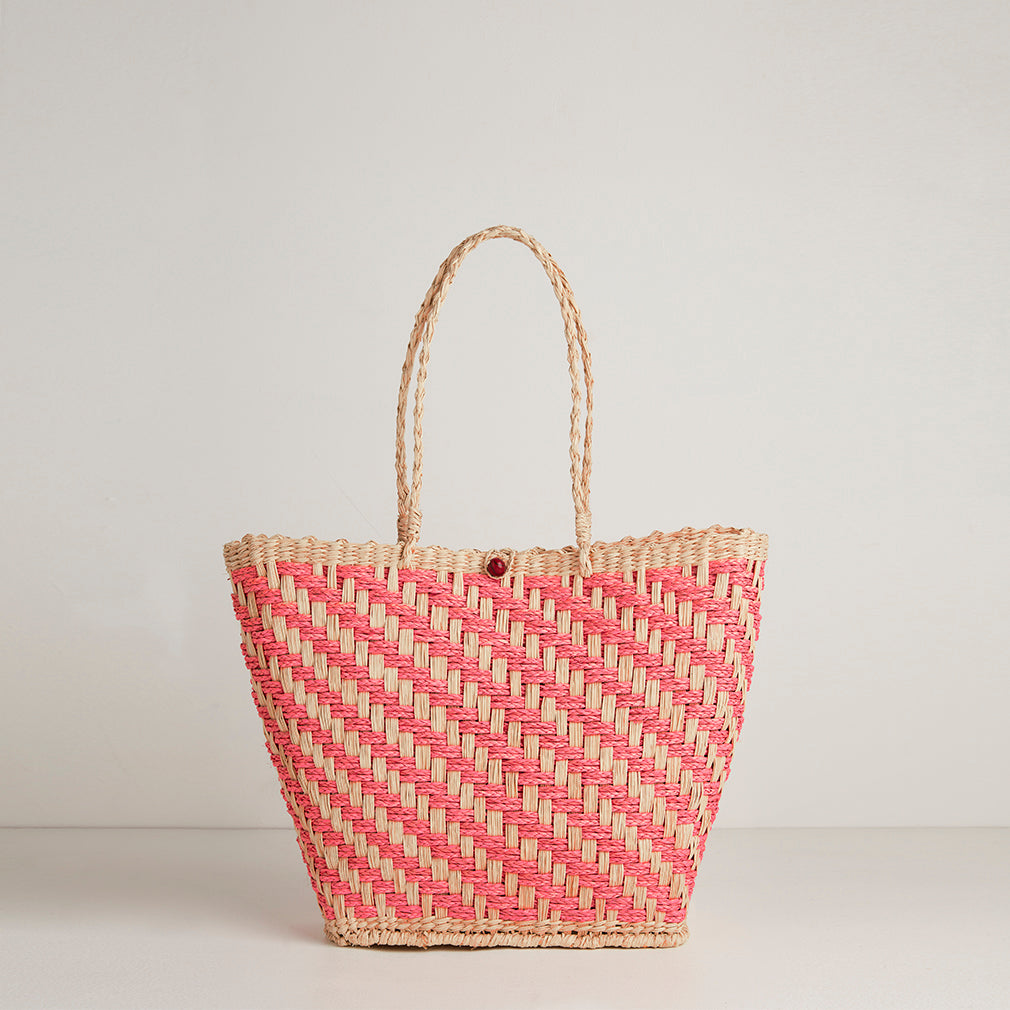 Istria Pink Straw Basket Bag | Betsy & Floss