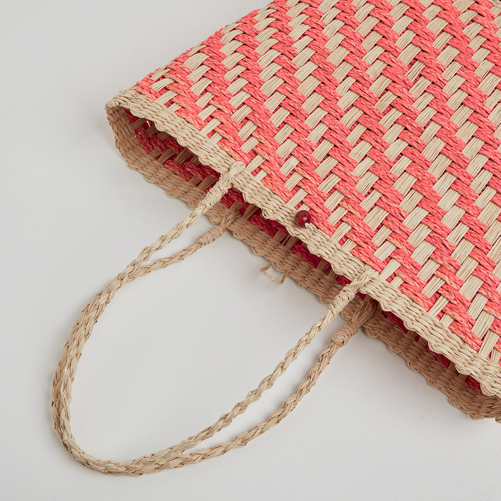 Istria Pink Straw Basket Bag, Detail | Betsy & Floss
