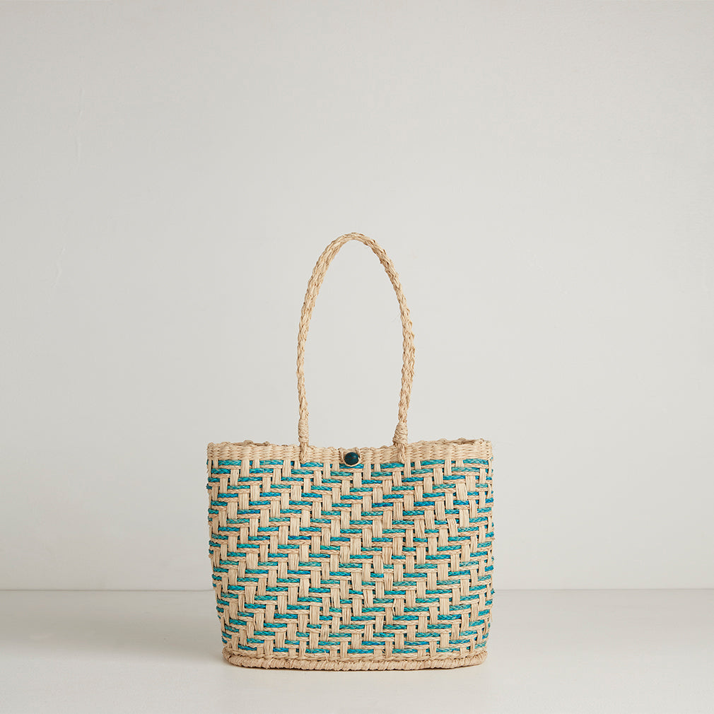 Zadar Blue Straw Basket Bag | Betsy & Floss