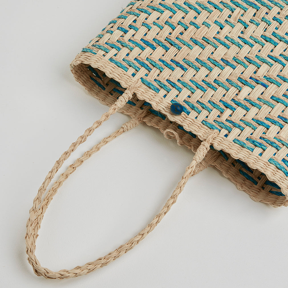 Zadar Blue Straw Basket Bag, Handles | Betsy & Floss