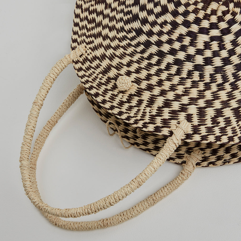 Antibes Circular Basket Bag, Strap Detail | Betsy & Floss