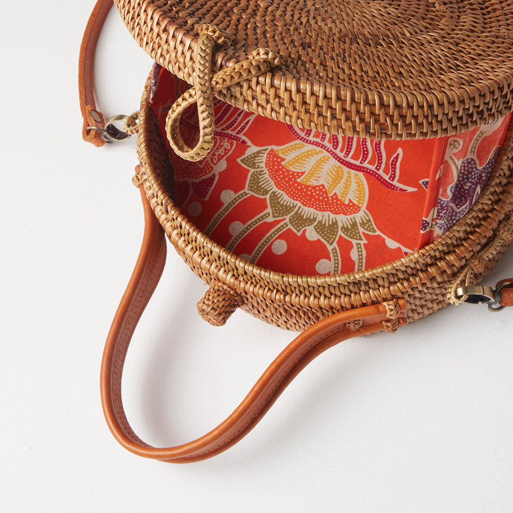 Buenos Round Basket Bag, Lining Detail | Betsy & Floss