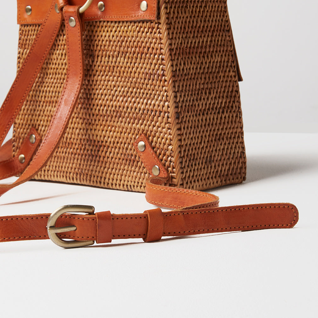 Luxor Basket Backpack, Strap Detail | Betsy & Floss