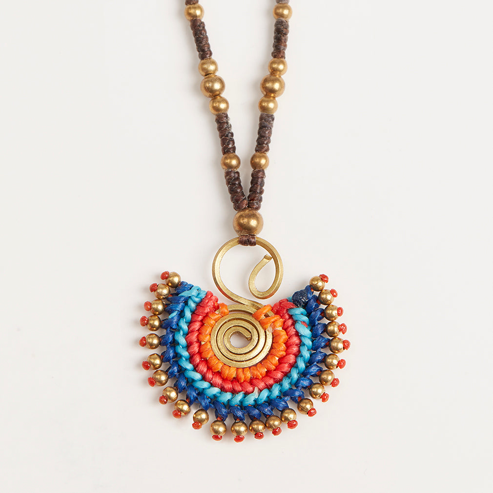 Statement Necklace in Cobalt Mix, Pendant Detail | Betsy & Floss