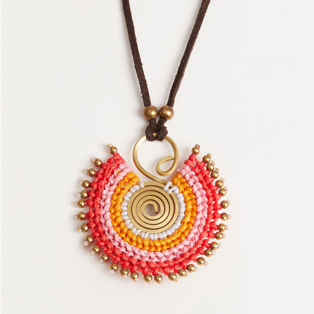 Statement Necklace in Reds, Pendant Detail | Betsy & Floss