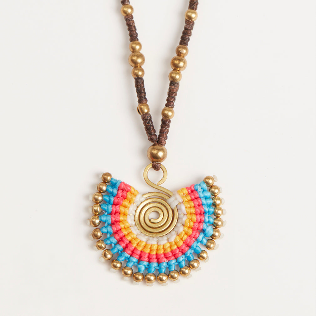 Statement Necklace in Turquoise Mix, Pendant Detail | Betsy & Floss