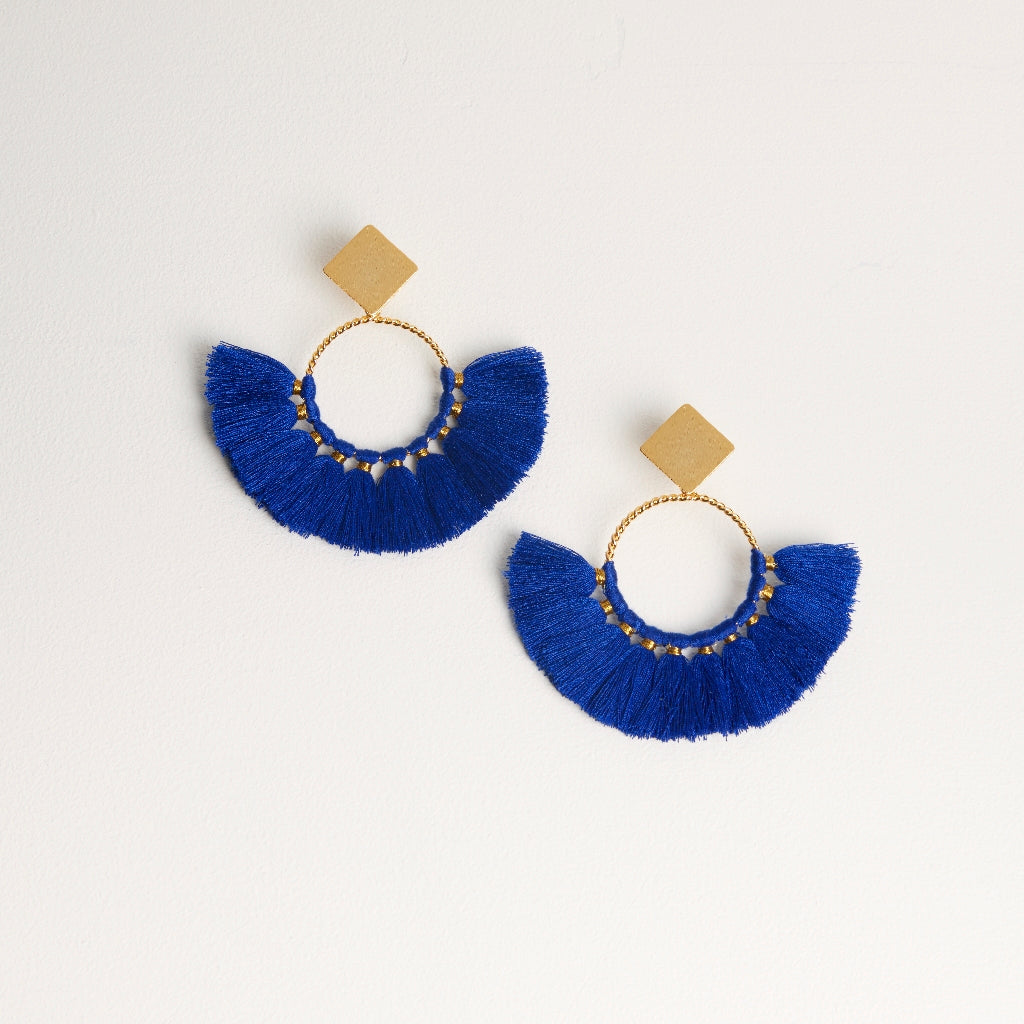 Tassel Earrings in Bright Blue
