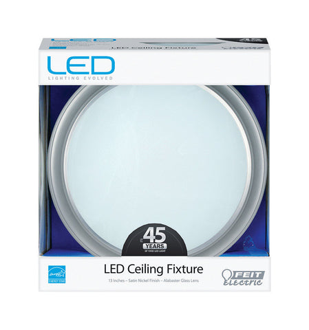 FEIT Electric  LED  4.58 in. H x 13 in. W x 13 in. L Satin Nickel  LED Flat Panel Light Fixture