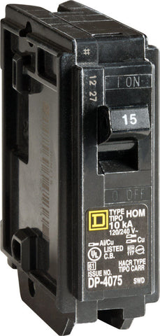 Square D  HomeLine  15 amps Plug In  Single Pole  Circuit Breaker