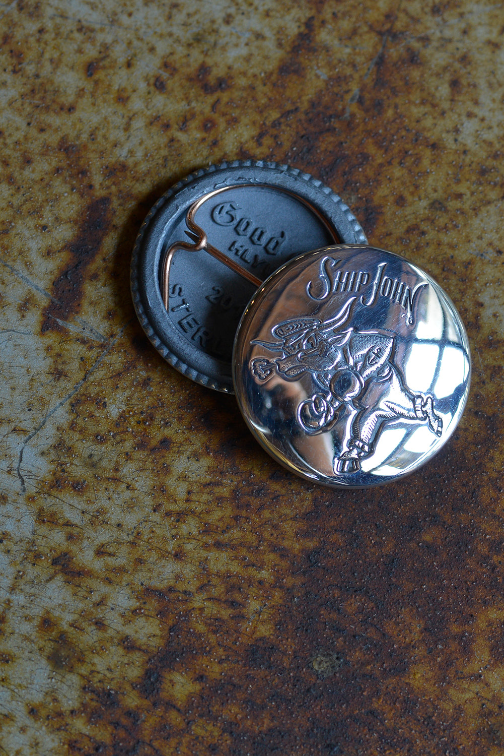 Good Art HLYWD x Ship John Fighting Bull Pin - Silver