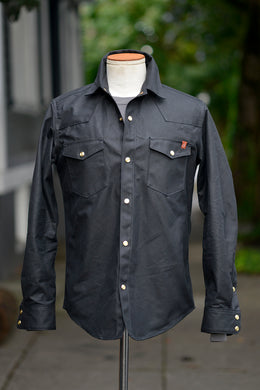 Townes Western Shirt - Black Waxed Canvas *Deposit*