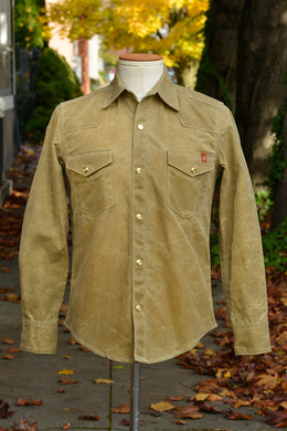 Townes Western Shirt - Tan Waxed Canvas *Deposit*