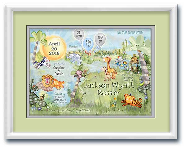 Framed jungle wall art personalized for baby's nursery decor in grey and lime green