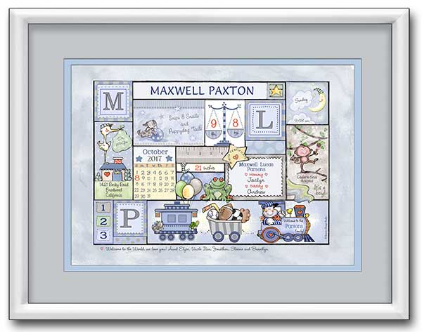 "Personalized Baby Birth Art- ""Arrival Day - Balloons & Boy Stuff"" - Baby Blue & Grey"