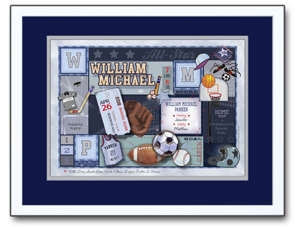 Personalized Baby Art- Sports Patchwork