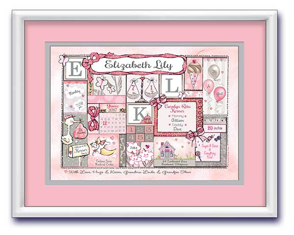 Personalized baby birth announcement art -pink newborn nursery gift