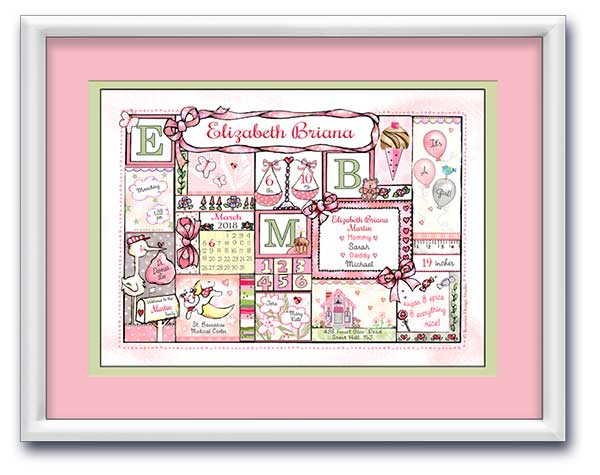 "Personalized Baby Birth Art- ""Arrival Day - Balloons & Bows"" - Pink & Pastels"