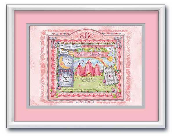 "Personalized Baby Art- ""Welcome Little Princess"" - Pink and Grey by Baby Soho"
