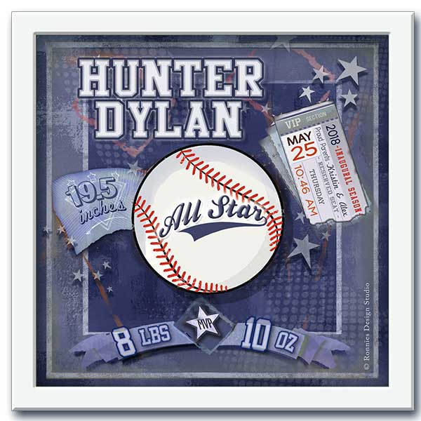 Framed Baseball Personalized Wall Art with Birth Details