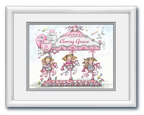 Personalized Carousel Birth Announcement Art