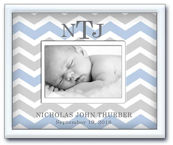 newborn picture frame personalized name and date of birth chevron grey and blue
