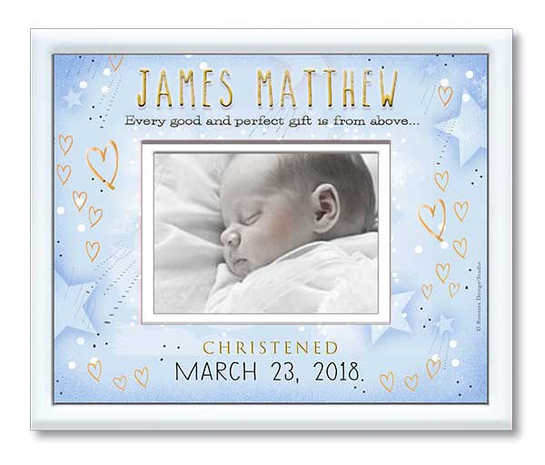 Christening Photo Frame-Light Blue Starry Sky and Hearts