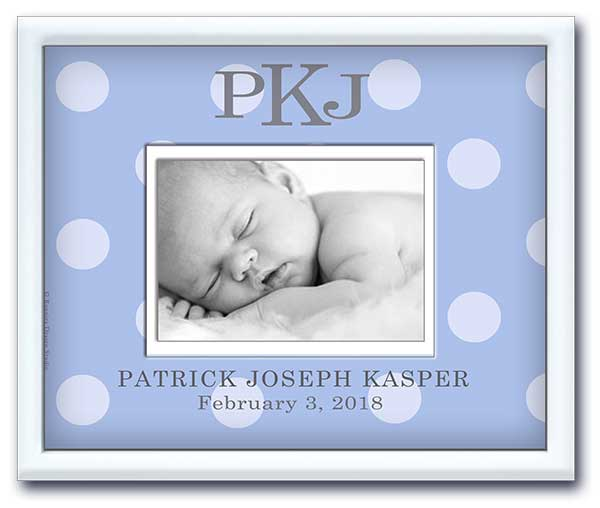 adorable newborn baby picture frame personalized & monogram Soft Blue & Soft Grey