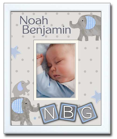 Newborn Photo Frame-Grey Elephants & Blocks