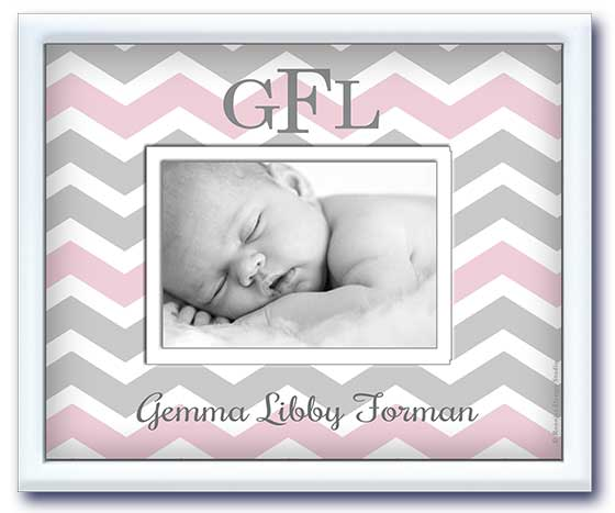 Monogrammed Picture Frame - Pink & Grey Chevron by Baby Soho
