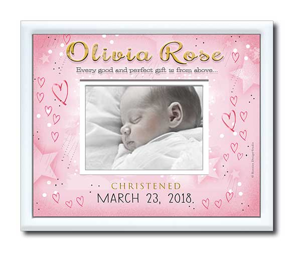 Christening Photo Frame-Starry Sky and Hearts