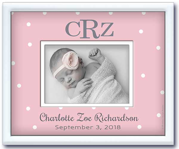 Personalized picture frame with baby's monogram, name and date of birth on pink dot design