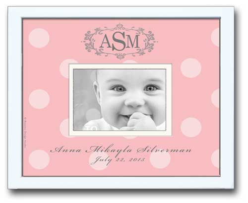 Monogrammed Picture Frame - Pink Bold Dot with Oval Crest
