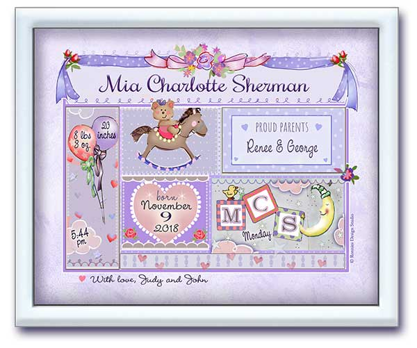 Mini Art Birth Announcement- Lilac Baby Patchwork